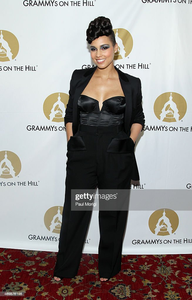 GRAMMY-winning artist, songwriter and producer <a gi-track='captionPersonalityLinkClicked' href=/galleries/search?phrase=Alicia+Keys&family=editorial&specificpeople=169877 ng-click='$event.stopPropagation()'>Alicia Keys</a> is presented with the Recording Artists' Coalition Award at the 2015 GRAMMYs ON THE HILL AWARDS at The Hamilton on April 15, 2015 in Washington, DC.