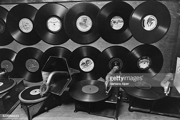 Gramophone records and players on display at the Old Sound Museum Dennis Massachusetts USA 31st October 1978