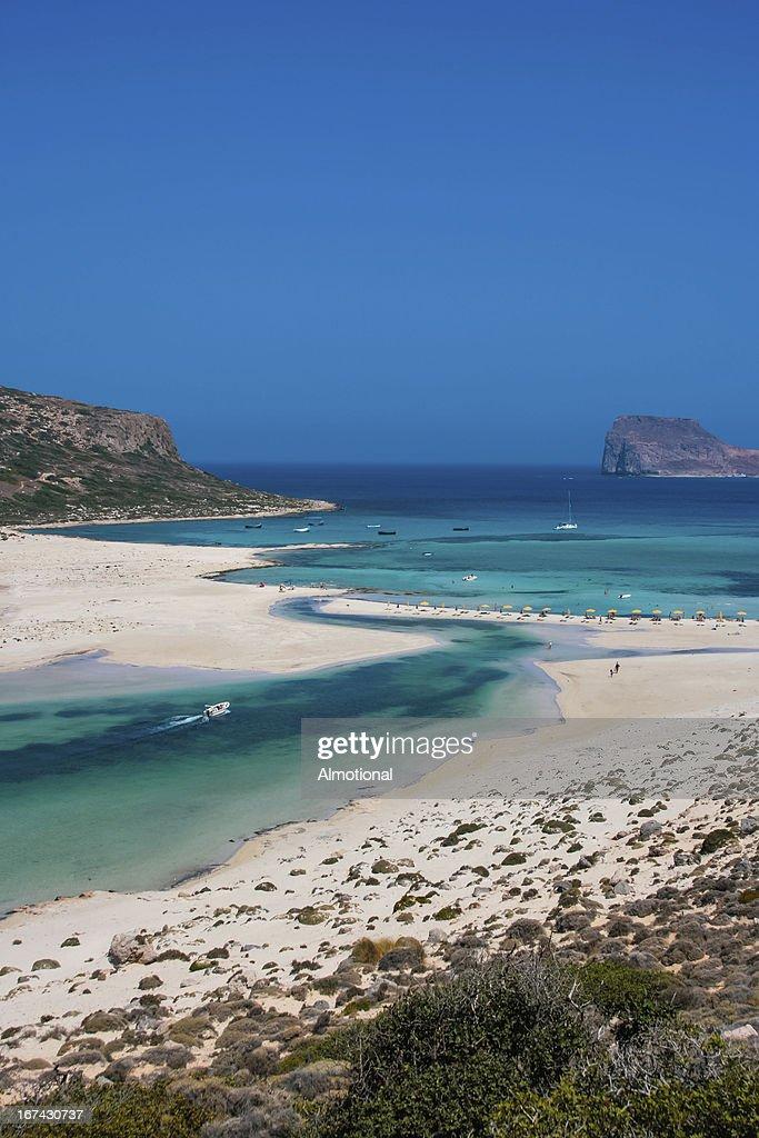 Gramvousa Balos la isla y la laguna en Creta : Foto de stock