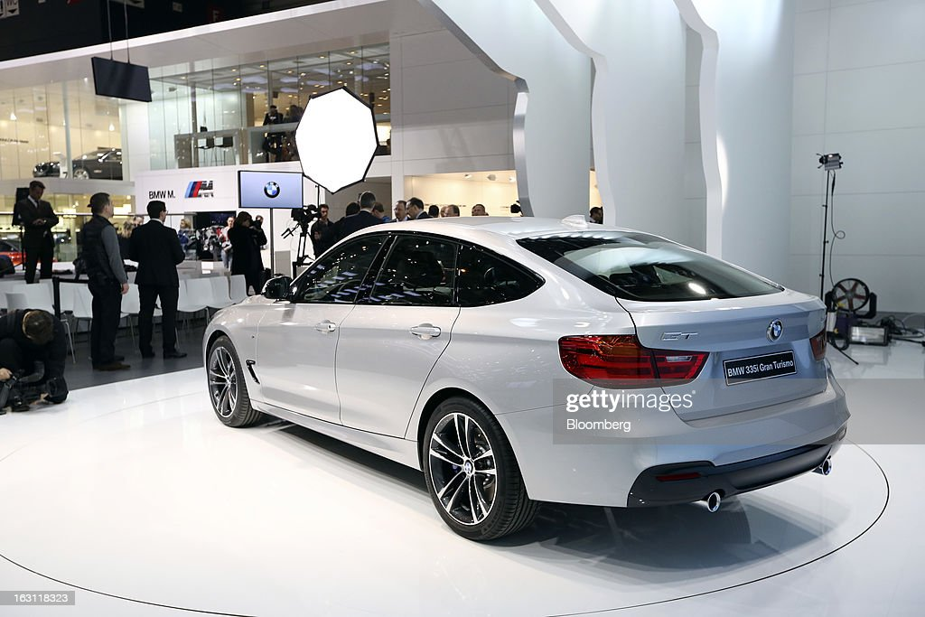 Gran Turismo automobile, produced by Bayerische Motoren Werke AG (BMW), is displayed on the company's stand ahead of the opening day of the 83rd Geneva International Motor Show in Geneva, Switzerland, on Monday, March 4, 2013. This year's show opens to the public on Mar. 7, and is set to feature more than 100 product premiers from the world's automobile manufacturers. Photographer: Chris Ratcliffe/Bloomberg via Getty Images