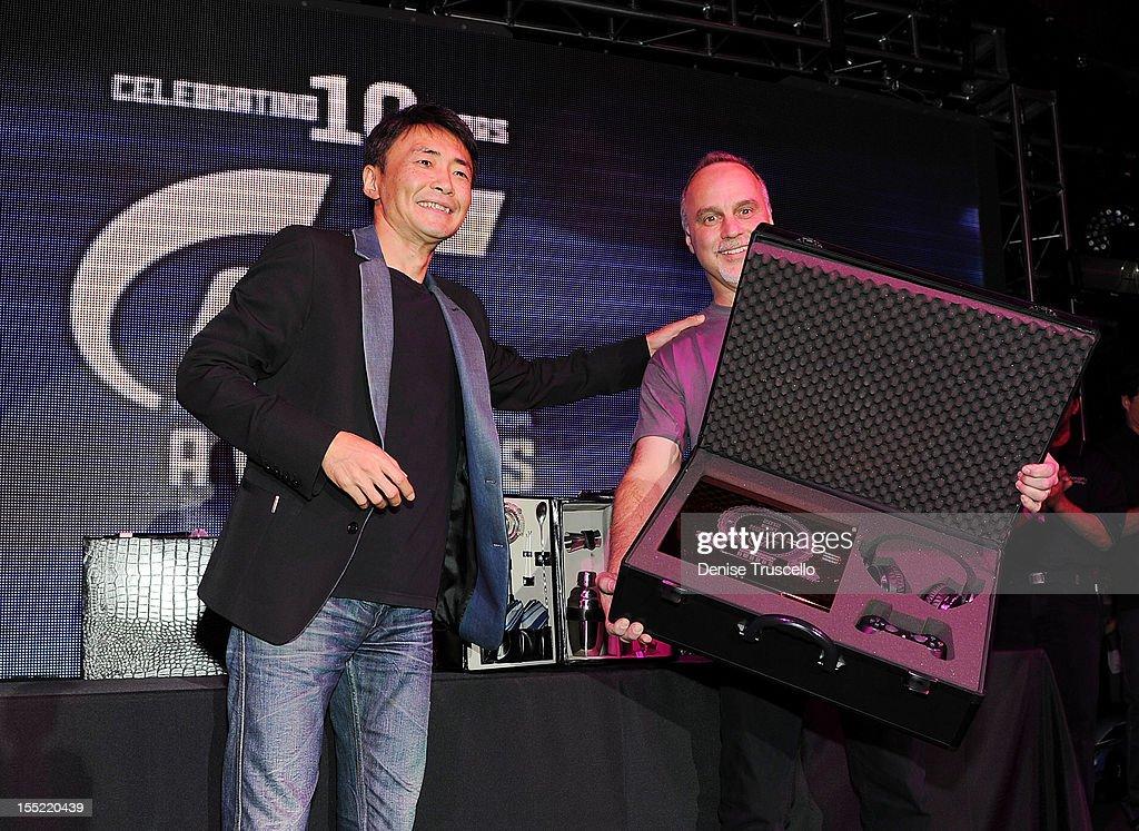 Gran Turismo creator Kazunori Yamauchi and Best In Show winner David Eckert for his Best Hot Rod win at The Palms Casino Resort on November 1, 2012 in Las Vegas, Nevada.