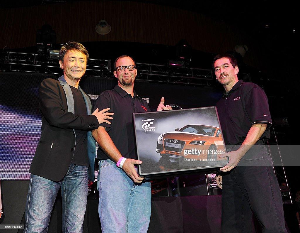 Gran Turismo creator Kazunori Yamauchi and Best SUV winner Sean Morris at the 10th Annual Gran Turismo Awards at The Palms Casino Resort on November 1, 2012 in Las Vegas, Nevada.