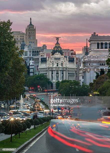 Gran Via and Cibeles Fountain in Madrid