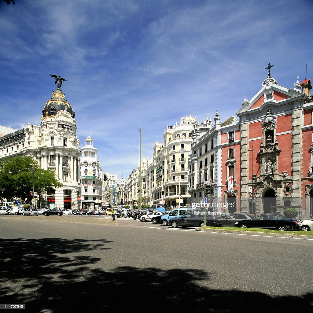 Gran Via and Metropolis building, Madrid : Stock Photo