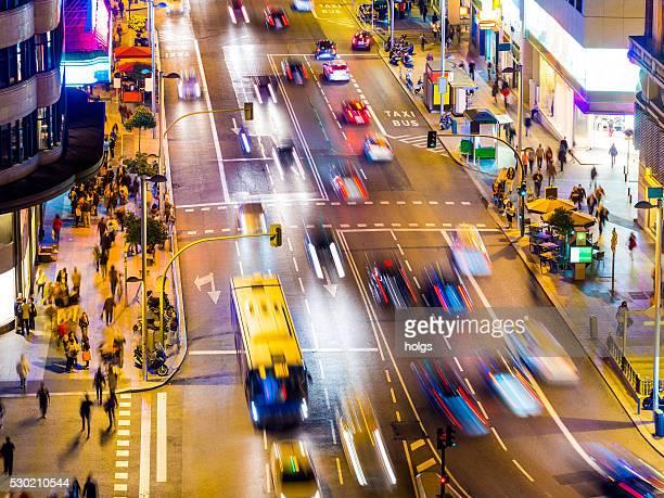 Gran Via de Madrid, Espagne, de nuit