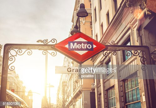 Gran via Metro sign in Madrid
