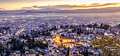 Cathedral of Granada - spain - at a beautiful sunset in a hazy atmosphere