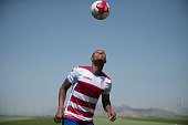 Granada CF football team's new player Brazilian defender Gabriel Silva plays with a ball during their official presentation in Granada on July 26...