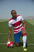 Granada CF football team's new player Brazilian defender Gabriel Silva poses on the pitch during his official presentation in Granada on July 26 2016...