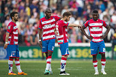 Granada CF players Daniel Joao Candeias Allan Nyom Ruben Rochina and Success Ajayi react defeated after loosing the La Liga match between Granada CF...