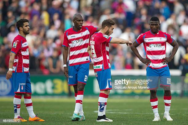 Granada CF players Daniel Joao Candeias Allan Nyom Ruben Rochina and Success Ajayi react defeated after loosing the La Liga match between Granada CF...