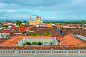 Cityscape of the historic city center of Granada with an aerial view showing the colorful Spanish colonial style architecture, Nicaragua, Central America.