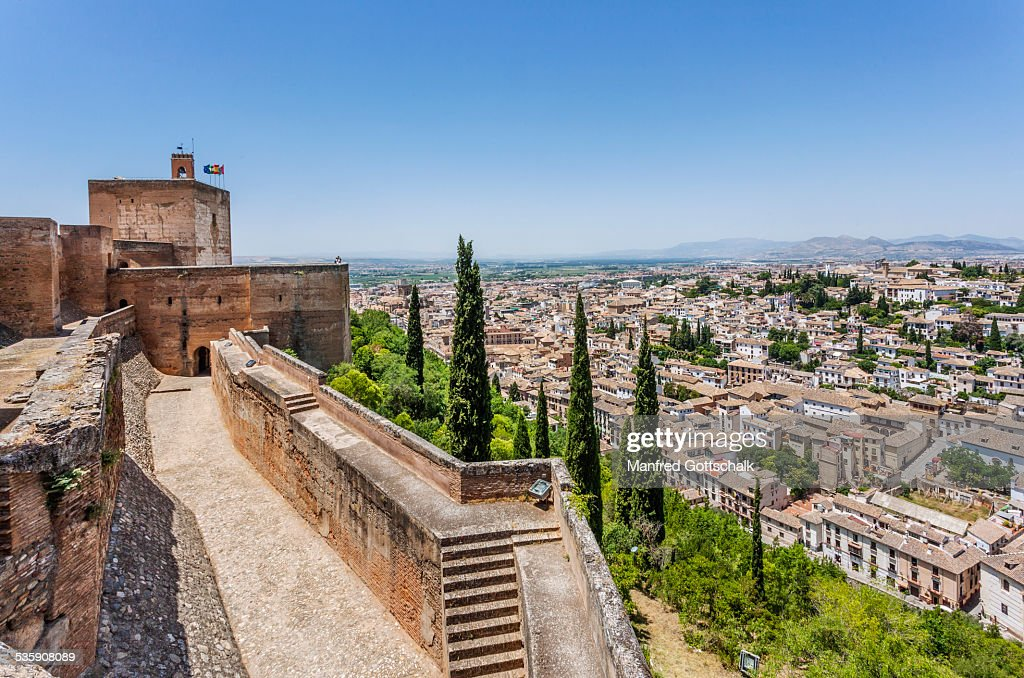 Granada view from the Alcazaba : Stock Photo