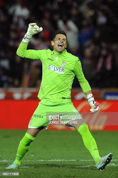 Granada's goalkeeper Roberto Fernandez reacts during the Spanish league football match Granada CF vs Valencia CF at the Nuevo Los Carmenes stadium in...
