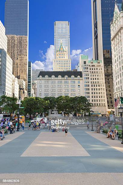 Grand Army Plaza with vivid blue sky, Manhattan, New York.