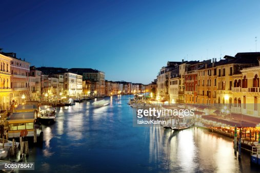 Grand Canal in Venice, Italy at sunset : Stock Photo