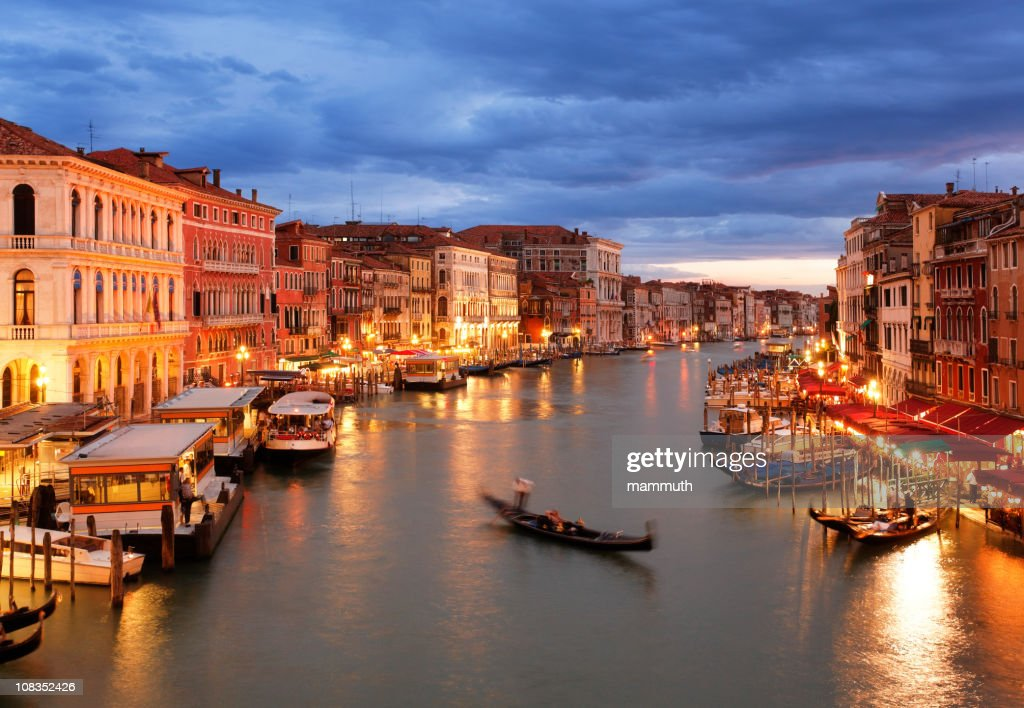 Grand Canal of Venice after sunset with gondola : Stock Photo