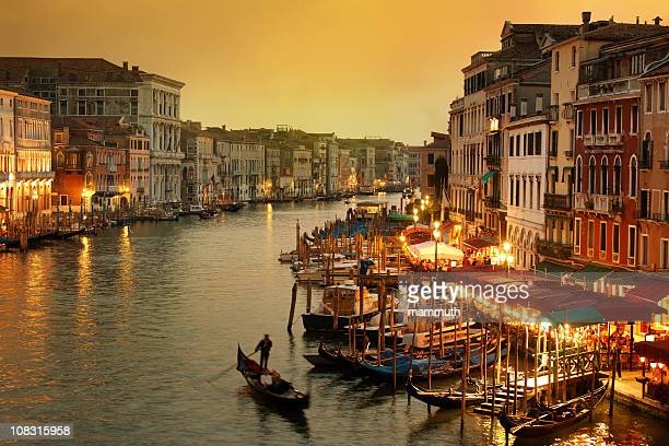 Grand Canal of Venice at twilight with gondola