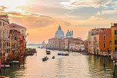 Grand canal and Basilica Santa Maria della Salute, Venice in sunrise light, Italy
