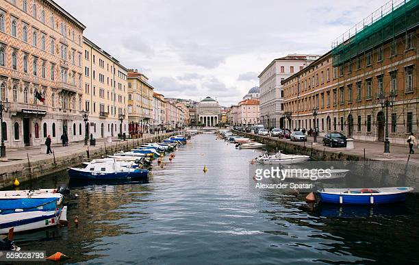 Grand canal with boats in Trieste, Italy