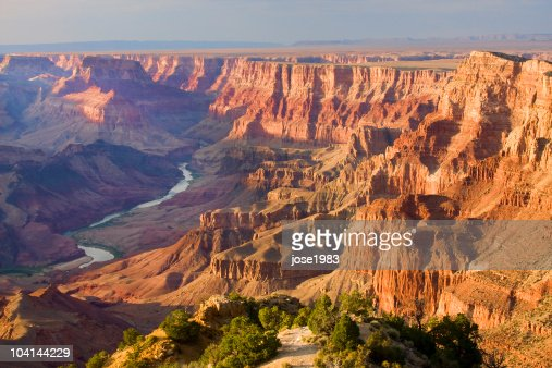 Grand Canyon landscape at dusk viewed from desert : Stock Photo
