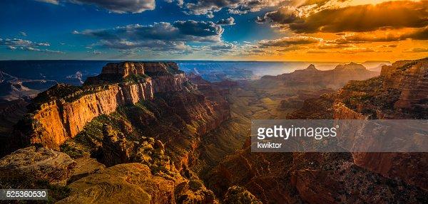 Grand Canyon North Rim Cape Royal Overlook at Sunset : Stock Photo