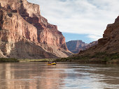 Rafters floating down the Grand Canyon.