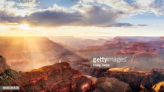 Grand Canyon Sunset from Hopi Point during summer monsoon : Stock Photo