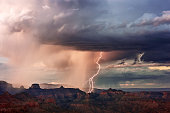 Grand Canyon thunderstorm with lightning and rain from Navajo Point, Grand Canyon National Park, Arizona, USA.
