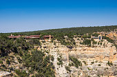 Tourist attraction of Grand Canyon National Park. Buildings Grand Canyon Village on the edge of the cliff. Tourist center in Arizona