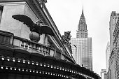 Black and white shot taken from Grand Central Station looking towards the Chrysler Building in Manhattan, New York.