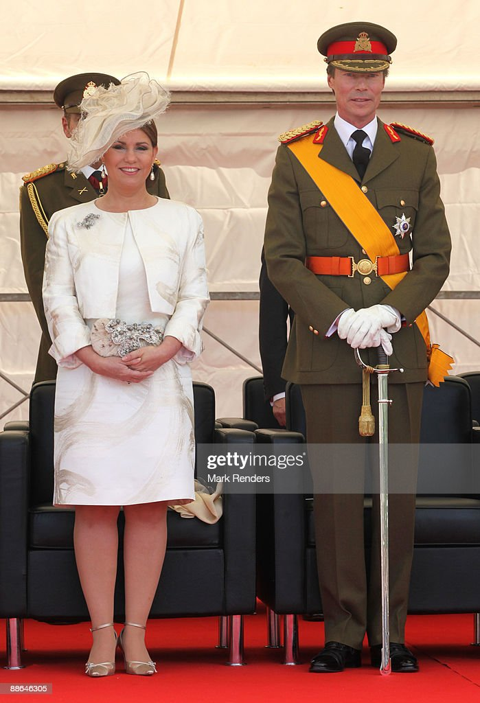 Grand Duchess Maria Teresa and Grand Duke Henri from Luxembourg assist the military Parade on National Day on June 23, 2009 in Luxembourg, Luxembourg.