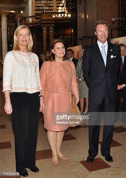 Grand Duchess Maria Teresa and Grand Duke Henri of Luxembourg visit the National galery in Vienna on April 16 2013 in Vienna Austria