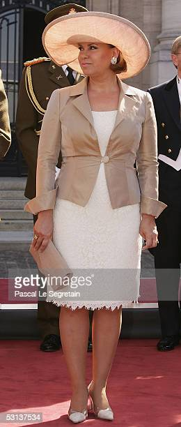 Grand Duchess Maria Teresa attends a military parade as part of National day celebrations on June 23 2005 in Luxembourg