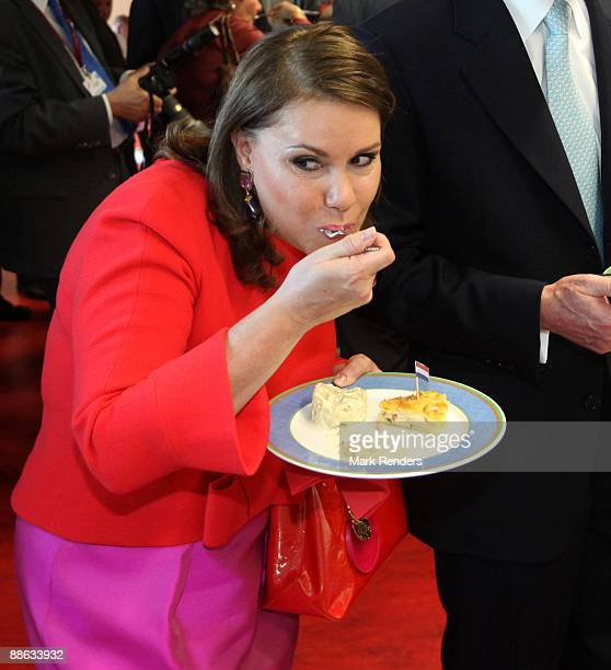 Grand Duchess Maria Teresa from Luxembourg pictured during a visit to the 'préscolaire de Ell' school on June 22 2009 in Colpach Luxembourg