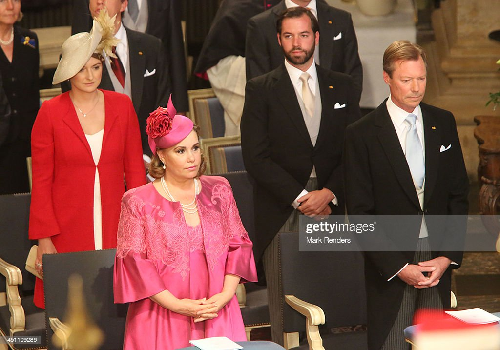 <a gi-track='captionPersonalityLinkClicked' href=/galleries/search?phrase=Grand+Duchess+Maria+Teresa&family=editorial&specificpeople=159000 ng-click='$event.stopPropagation()'>Grand Duchess Maria Teresa</a>, Grand Duke Henri, Princess Stephanie and Prince Guillome of Luxembourg attend the Te Deum for National Day on June 23, 2014 in Luxembourg, Luxembourg.