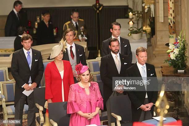Grand Duchess Maria Teresa Grand Duke Henri Princess Stephanie Prince Guillome Prince Sebastien Prince Louis and Prince Felix attend the Te Deum for...