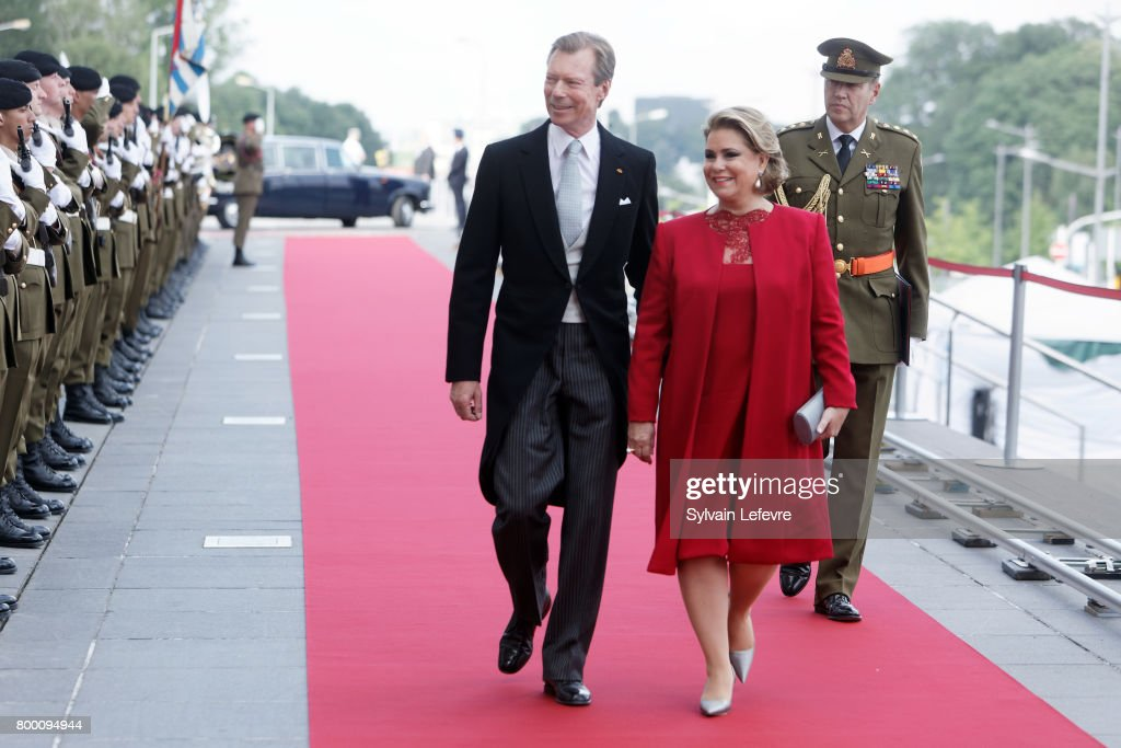 Grand Duchess Maria Teresa of Luxembourg and Grand Duke Henri of Luxembourg arrive at Luxembourg Philarmonie hall for official reception of National Day on June 23, 2017 in Luxembourg, Luxembourg.