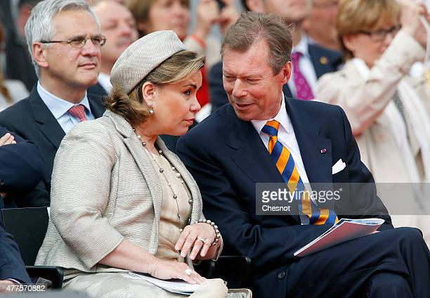 Grand Duchess Maria Teresa of Luxembourg and Grand Duke Henri of Luxembourg attend the Belgian federal government ceremony to commemorate the...