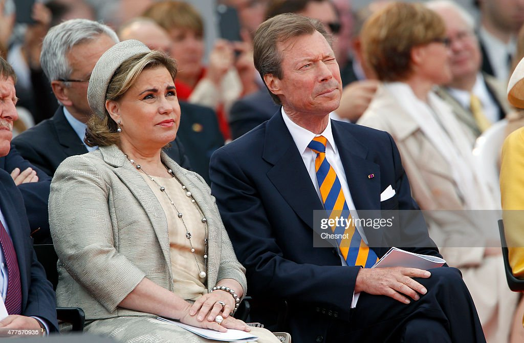 Grand Duchess Maria Teresa of Luxembourg and Grand Duke Henri of Luxembourg attend the Belgian federal government ceremony to commemorate the bicentenary of the Battle of Waterloo on June 18, 2015 in Waterloo, Belgium. The ceremony is at the start of three days of official events marking the 200th anniversary of the Battle of Waterloo during which around 5000 historical re-enactors from around the world will take part in events culminating in a re-enactment of the allied defeat of Napoleon's army on June 20th. The 1815 battle saw the overthrow of Napoleon Bonaparte and the restoration of Louis XVIII to the French throne.
