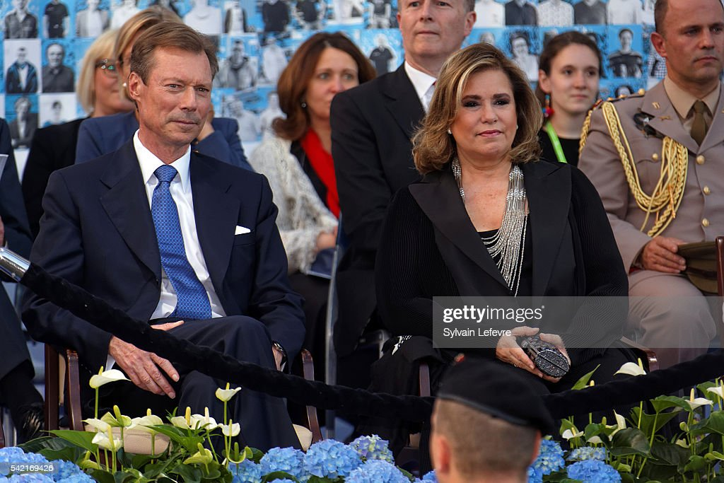 Grand Duchess Maria Teresa of Luxembourg and Grand Duke Henri of Luxembourg celebrate National Day on June 21, 2016 in Luxembourg, Luxembourg.