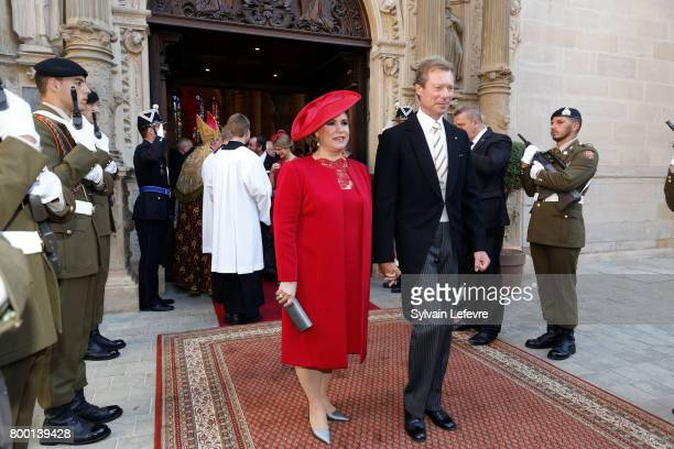 Grand Duchess Maria Teresa of Luxembourg and Grand Duke Henri of Luxembourg leave Notre Dame du Luxembourg cathedral after attending Te Deum for...