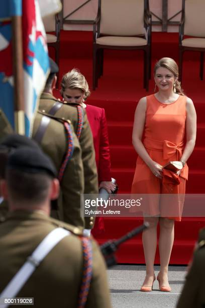 Grand Duchess Maria Teresa of Luxembourg and Princess Stephanie attend National Day parade on June 23 2017 in Luxembourg Luxembourg