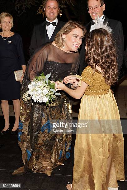 Grand Duchess Maria Teresa of Luxembourg arrives for the 20th Luxembourg Red Cross Ball Galaon November 19 2016 in Luxembourg Luxembourg