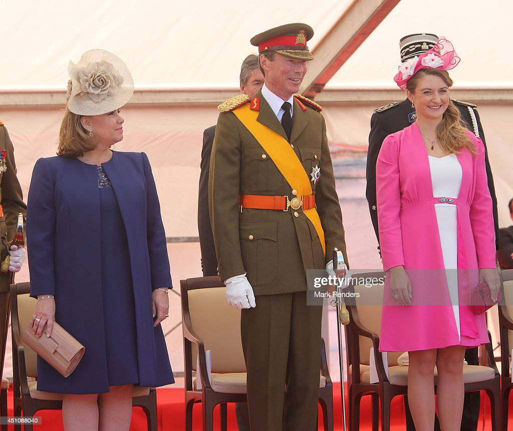 Grand Duchess Maria Teresa of Luxembourg, Grand Duke Henri of Luxembourg and Princess Stephanie of Luxembourg celebrate National Day during the parade on June 23, 2014 in Luxembourg, Luxembourg.