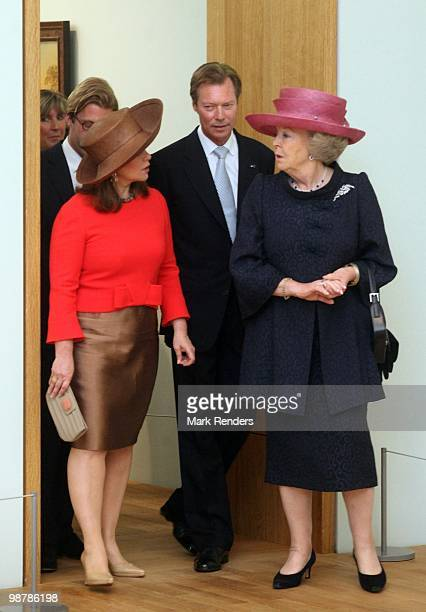 Grand Duchess Maria Teresa of Luxembourg Grand Duke Henri of Luxembourg and Queen Beatrix of the Netherlands attend the inauguration exhibition 'The...
