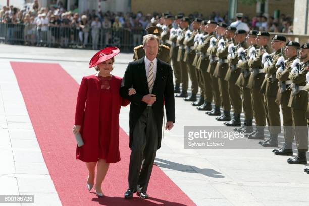 Grand Duchess Maria Teresa of Luxembourg Grand Duke Henri of Luxembourg arrive for Te Deum for National Day at Notre Dame du Luxembourg cathedral on...