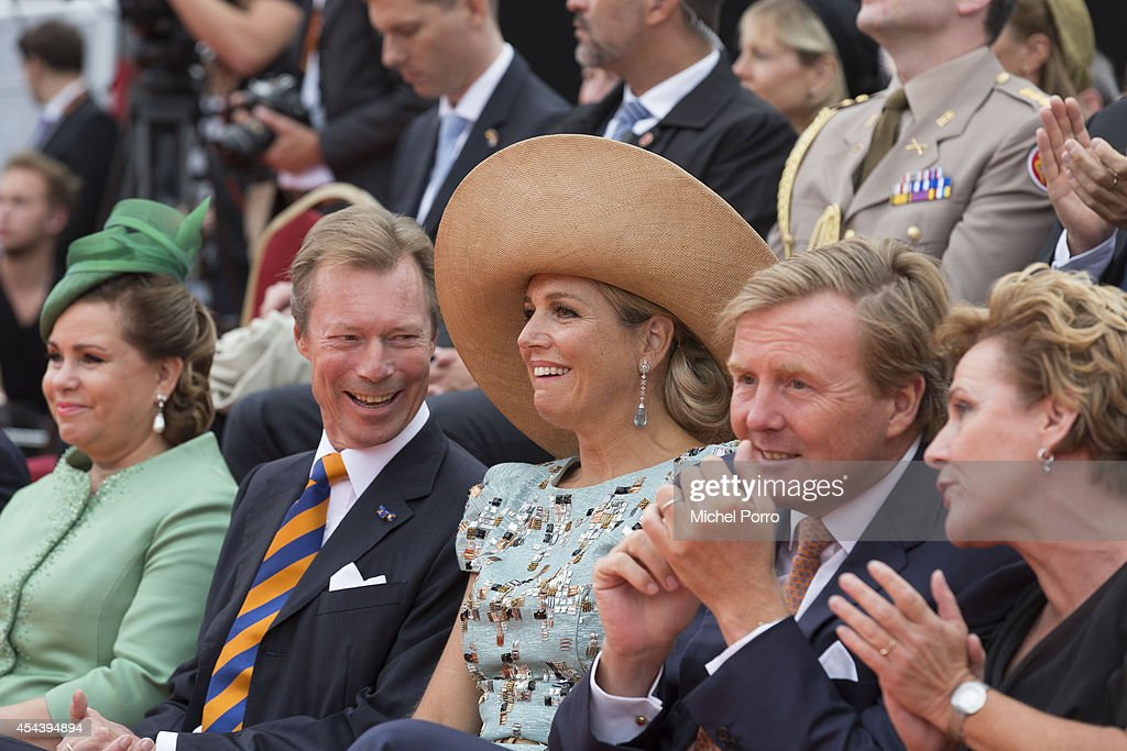 <a gi-track='captionPersonalityLinkClicked' href=/galleries/search?phrase=Grand+Duchess+Maria+Teresa&family=editorial&specificpeople=159000 ng-click='$event.stopPropagation()'>Grand Duchess Maria Teresa</a> of Luxembourg, Grand Duke Henri of Luxembourg, Queen Maxima of The Netherlands, <a gi-track='captionPersonalityLinkClicked' href=/galleries/search?phrase=King+Willem-Alexander&family=editorial&specificpeople=160214 ng-click='$event.stopPropagation()'>King Willem-Alexander</a> of The Netherlands and Ank Bijleveld-Schouten attend celebrations marking the 200th anniversary of the kingdom of The Netherlandson August 30, 2014 in Maastricht, The Netherlands.