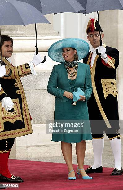 Grand Duchess Maria Teresa of Luxembourg leaves after she attended the wedding ceremony between Spanish Crown Prince Felipe de Bourbon and former...