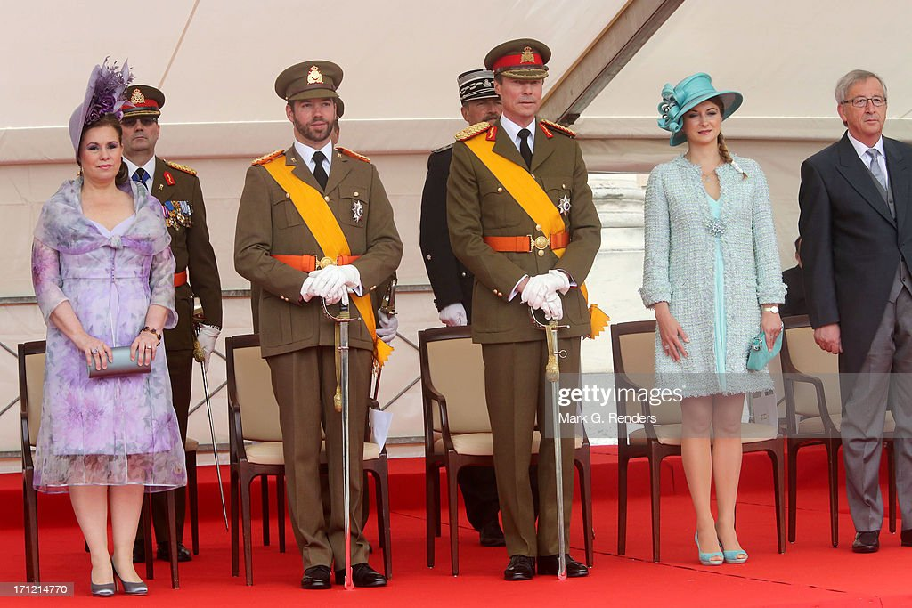 <a gi-track='captionPersonalityLinkClicked' href=/galleries/search?phrase=Grand+Duchess+Maria+Teresa&family=editorial&specificpeople=159000 ng-click='$event.stopPropagation()'>Grand Duchess Maria Teresa</a> of Luxembourg, Prince Guillaume of Luxembourg, Grand Duke Henri of Luxembourg and Princess Stephanie of Luxembourg celebrate National Day on June 23, 2013 in Luxembourg, Luxembourg.